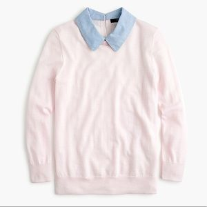 NWT J. Crew Heather Chambray Collar Sweater Large